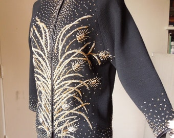 Vintage Beaded Cardigan Sweater, 60's, Black and Gold, 50's Rockabilly Mad Men Style, Women's Small to Medium, SALE