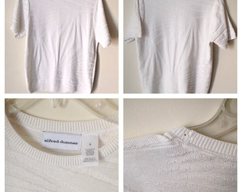 Vintage Alfred Dunner Sweater // Vintage White Sweater