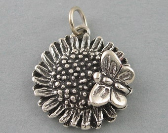 Sterling Silver Charm Pendant SUNFLOWER & BUTTERFLY Garden BR396