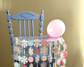 """Winter Wonderland Highchair Birthday Banner - """"Onederland"""" shimmery snowflakes and circles for the highchair"""