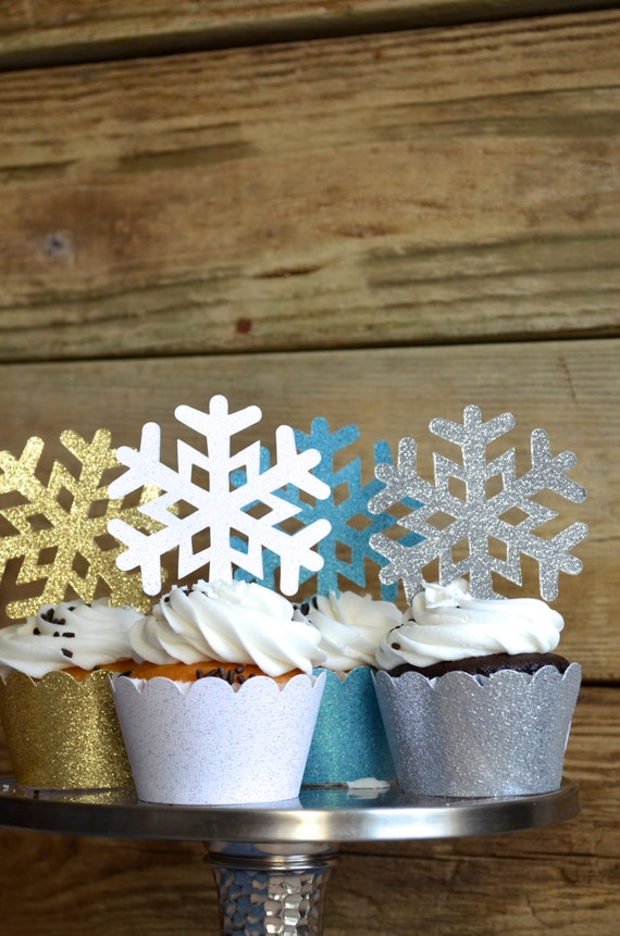 Glitter Snowflake Cupcake Toppers