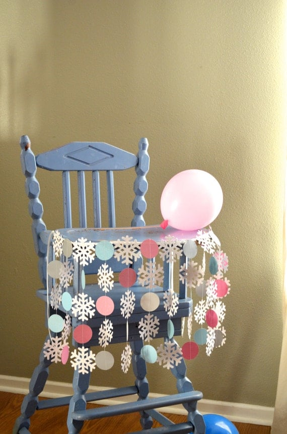 "Winter Wonderland Highchair Birthday Banner - ""Onederland"" shimmery snowflakes and circles for the highchair"