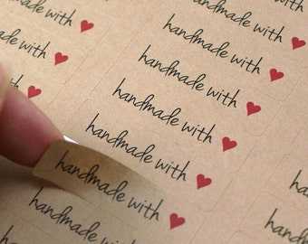80 HANDMADE WiTH LOVE labels with RED Heart - kraft brown made with love stickers - Free Spirit Font - 1/2 x 1 3/4 inch kraft stickers