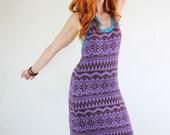 SALE - Vintage 1970s Purple Tribal Design Designer Giorgio Sant Angelo Knit Maxi Dress