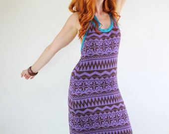 SALE - Vintage 1970s Purple Tribal Design Designer Giorgio Sant Angelo Knit Maxi Dress
