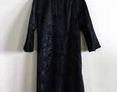 vintage black silk chinoiserie bamboo opera coat small medium