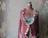 Pink Boho Chic Cardigan with Teal Green Camisole, Tattered Mori Girl Sweater, Eco Fashion, Recycled Sweaters, Upcycled Pink Cardigan