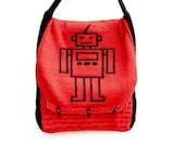 Robot Messenger Bag, Red Cross Body Bag, Children's Messenger Bag, Mens Bag, Laptop Bag, Geeky Bag, Nerd, Robots - Cherry Red, Black, White