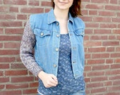 Denim Jacket with Knit Sleeves, Cropped Denim Jacket, Cable Pattern, Womens Fashion, Teen Tween Girls, Size Small - Blue Denim, Brown melee