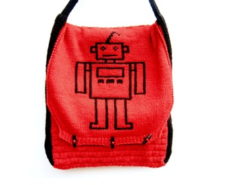 Robot Messenger Bag, Red Cross Body Bag, Children's Messenger Bag, Mens Bag, Laptop Bag, Geeky Bag, Nerd, Robots - Cherry Red, Black, White