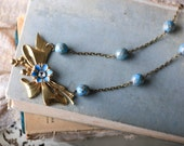 Bow Necklace, Layering Necklace, Vintage Necklace, Anthropologie Inspired Necklace, Blue Spring Necklace