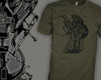The Black Crowes Shirt - Gibson Les Paul Blues Guitar - Black Crow Rock T-Shirt