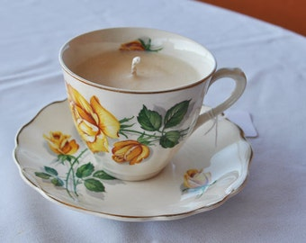 Teacup Candle - Gardenia  Scented Soy Wax Candle set in Vintage English G&J Meakin Teacup