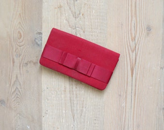 Vintage clutch. 80s satin bow handbag
