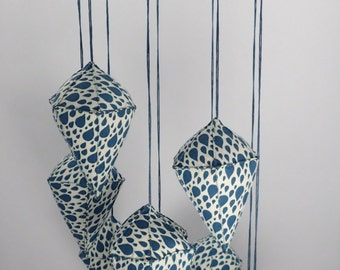 Aberdeen - Blue Raindrop Fabric Mobile - Hexagonal Bipyramid