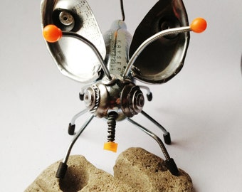 Nozbug no.2 - Scrap Metal Bug, Creature, Mixed Media Art, Recycled materials, with UV orange and black rubber