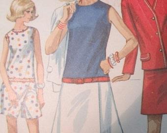 Simplicity 8098 Vintage 1960's Drop Waist Romper Culotte Dress Pattern with Unlined Jacket -1960's Mini Dress Pattern -Size 10 Bust 32 1/2