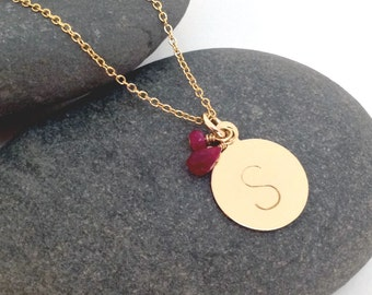 Gold Initial Necklace- Gold Letter Necklace - Ruby Necklace - July Birthstone -  Dainty 14k Gold Filled Initial Necklace - Customize initial