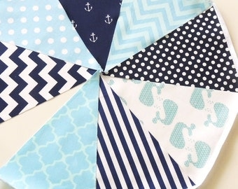 Nautical Baby Shower Banner, Bunting, Fabric Pennant Flags Navy, Light Blue, Whale, Anchor Birthday Party Garland Wedding Decor, Baby Shower