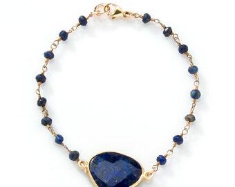 Lapis stone bracelet with lapis stone chain band and Bezel Set Lapis Stone - BG02