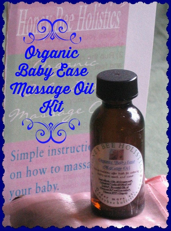 Organic Baby Ease Massage Oil Kit Chamomile and Lavender 1oz amber glass bottle plus Massage instruction pamphlet with How-to-Steps