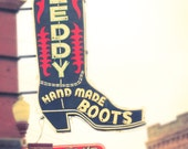 Cowboy Boot, Art, Fine Art Photography, Cowboy Boot, Neon Sign, Fort Worth Texas, Country and Western Decor, Wall Print, Texas, Home Decor