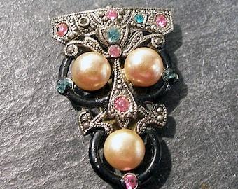 Enamel Rhinestone Pearl Dress Fur Clip Enamel Pink Blue Rhinestones VINTAGE Deco Dress Clip PEARLS Vintage Dress Fur Clip (F34)
