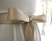 Taupe wedding sash, bridal sash, bridesmaid sash, bridal belt, 1.5 inch satin ribbon