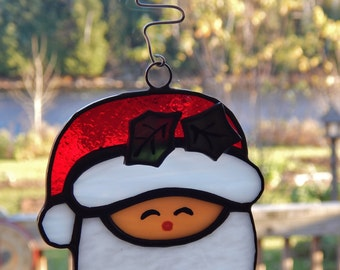 Stained Glass Santa Claus Head Ornament/ Suncatcher