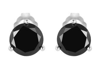 Platinum  3.00 Carat Fancy Black Diamond Martini Stud Earrings HandMade Earrings