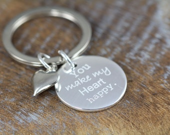 You Make My Heart Happy Personalized Engraved Key Ring - Valentines Gift - Anniversary Gift Idea - Love Quote Keyring