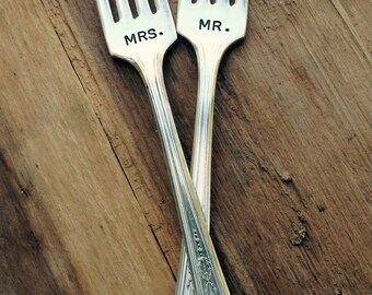 Vintage Silverware Mr. & Mrs. Sweetheart Cake Wedding Forks Wedding Silverware Reception  Table Setting   As Seen in The Knot