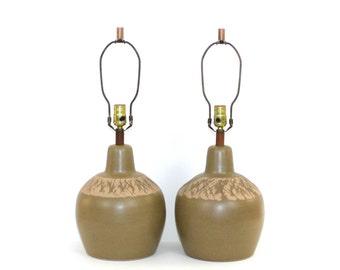 Pair MARTZ Pottery Lamps . Mid-Century Danish Modern