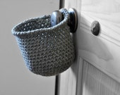 Extra Deep Grey Hanging Storage Basket Office Organizer Doorknob Catchall Crocheted Decor Supply Holder