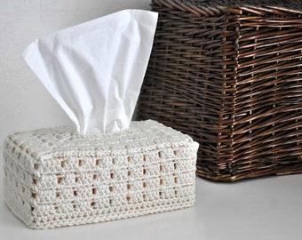 Tissue Box Cover Nursery Decoration  Home Decor Cream Off White Granny Chic