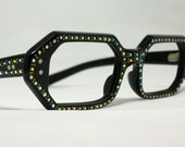 Vintage Eyeglasses. Geometric Shape in Black with Rhinestones