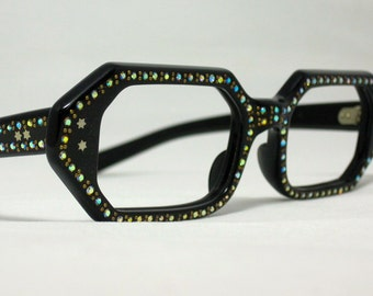 Vintage Eyeglasses. Geometric Shape in Black with Rhinestones