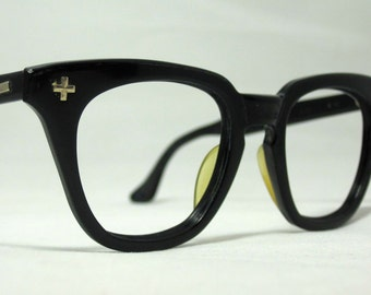 Vintage EyeGlasses Mens Safety Frames. Black Horn Rim Frames.