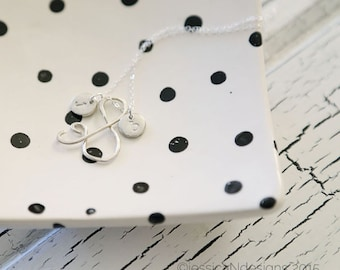 You & Me -Sterling Silver Ampersand Necklace with Personalized Initials