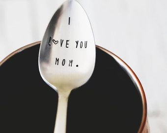 I Love You Mom - Hand Stamped Vintage Coffee Spoon for your Coffee Lovin' Momma