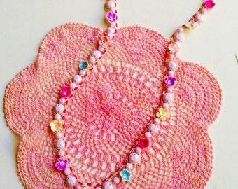 Vintage beaded necklace/Vintage lace trim/Pastel pink beads/Millinery velvet flowers/Shabby pink/milk beads