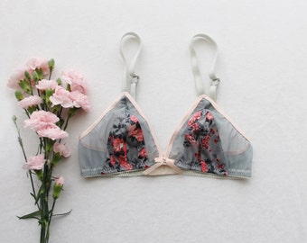 Handmade Triangle Bra 'Josephine' Grey Coral and Peach Floral and Mesh Modern Bralette Made to Order