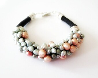 Pearl Bracelet, Linen Bracelet, Pearl Nuggets Beads, Black Linen Cord