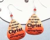 Christ Strengthens me Bible Scripture Earrings - Christ Earrings - Strength Earrings
