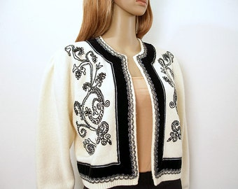 Vintage 1980s Beaded Sweater Cream Black Soutache Open Cardigan / Medium