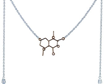Chocolate Molecule Necklace - Theobromine Cacao - Custom Gift for a Chocoholic or Chocolate lover