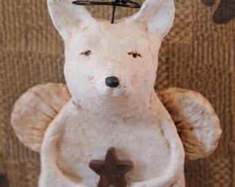 Chihuahua Angel, OOAK, handmade from paper mache, WHITE CHIHUAHUA