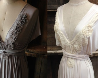 Couture Strap Applique Detailing- For the Infinity Wrap Dress~ Grey Rosettes or Ivory French Couture Pintuck - Choose your Dress Fabric