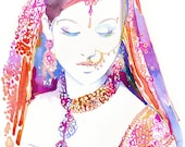 Indian Bride Print, Watercolour Indian Bride,  Brides, Indian Art, Indian Costume, Indian Wedding
