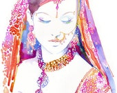 Archival Prints - Watercolour Fashion Illustration by Cate Parr - Watercolor Indian Bride, Indian Fashion Print